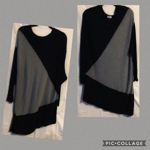 Avenue Two-Toned Asymmetrical Tunic Sweater NWOT